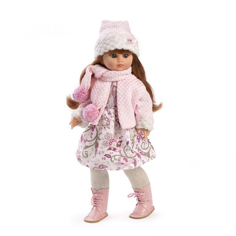 Muñeca Fany bufanda rosa 42 cm