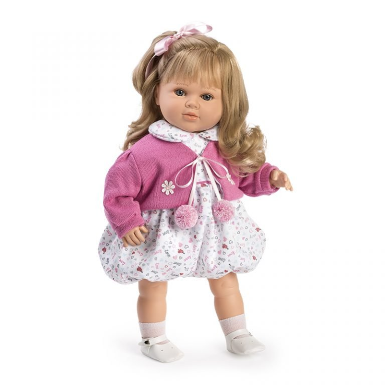 Muñeca Habladora Carla chaqueta rosa 52 cm