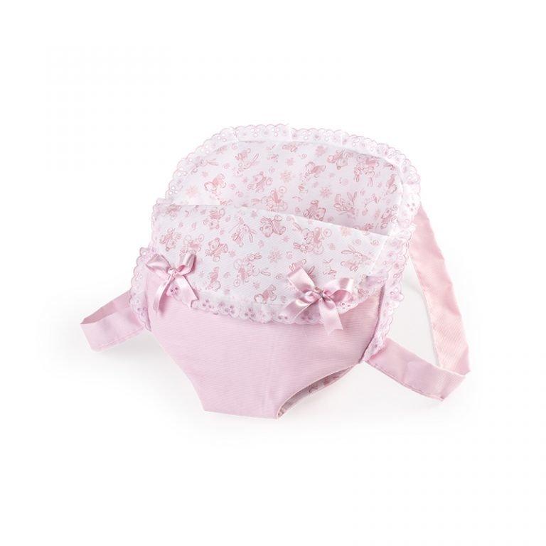 Porta Bebé Rosa con lazos 38 alto x 35 ancho