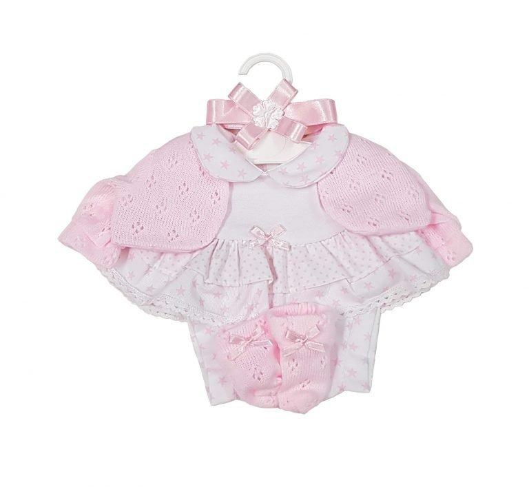 Vestido y chaqueta de punto rosa 42 cm