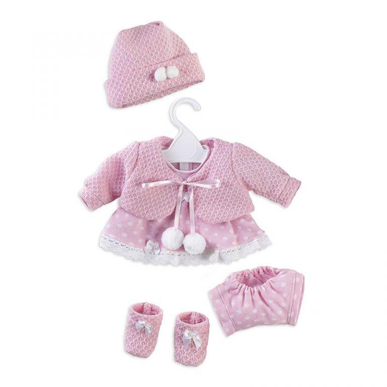 Conjunto vestido y chaqueta de punto rosa 42 cm
