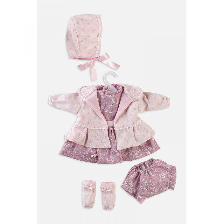 Conjunto vestido abrigo y gorrito 52 cm
