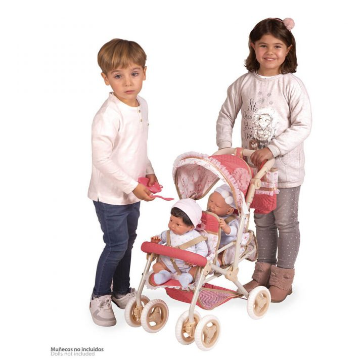 Folding twin doll stroller